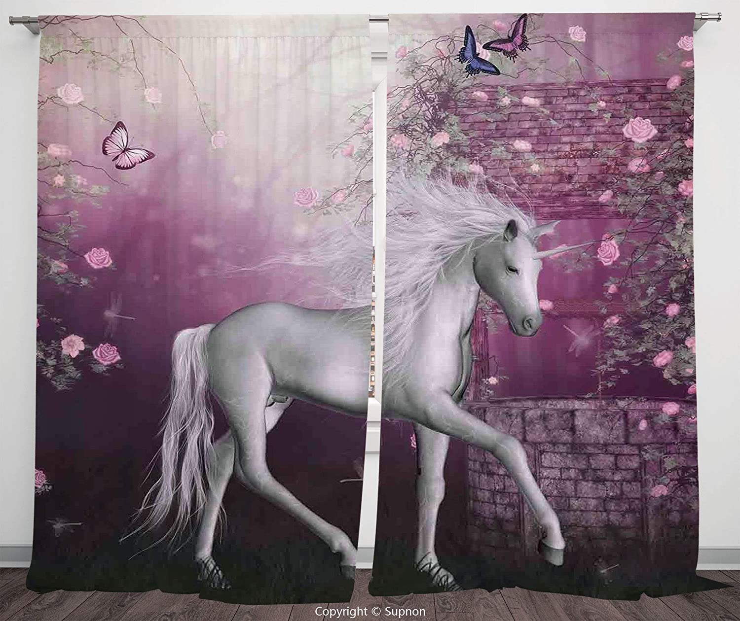 Rod Pocket Curtain Panel Polyester Translucent Curtains for Bedroom Living Room Dorm Kitchen Cafe/2 Curtain Panels/108 x 72 Inch/Fantasy Decor,Unicorn in Rose Garden Summer Flying Butterflies Romance