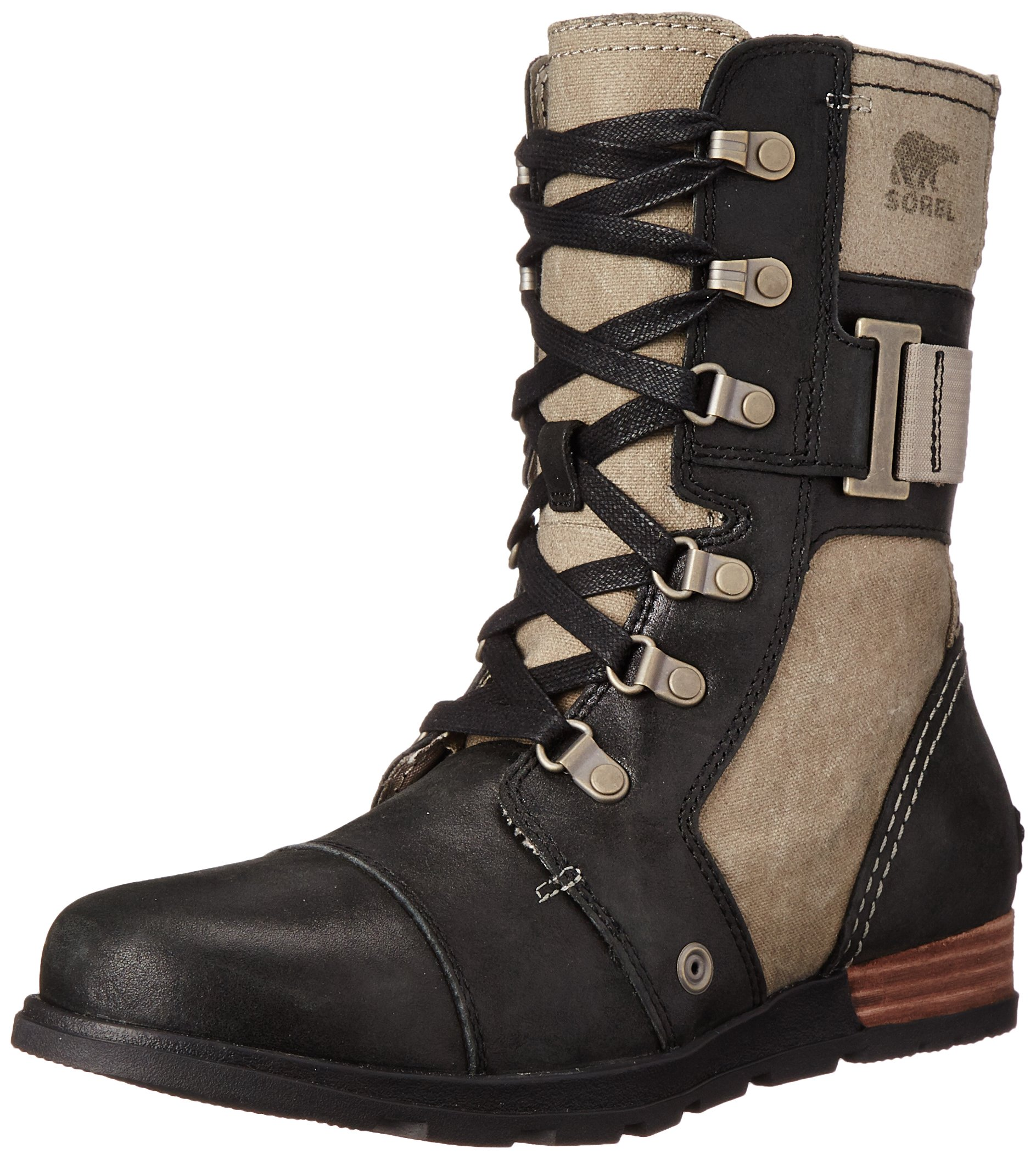 Sorel Women's Major Carly Snow Boot, Wet Sand, Black, 9.5 B US