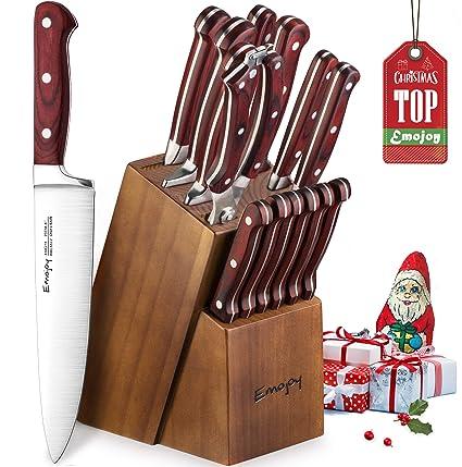 Cuchillo de cocina, Juego de cuchillos de acero inoxidable Alemán Importado, 15 piezas cuchillos de cocina Profesional, Bloque de Madera por Emojoy