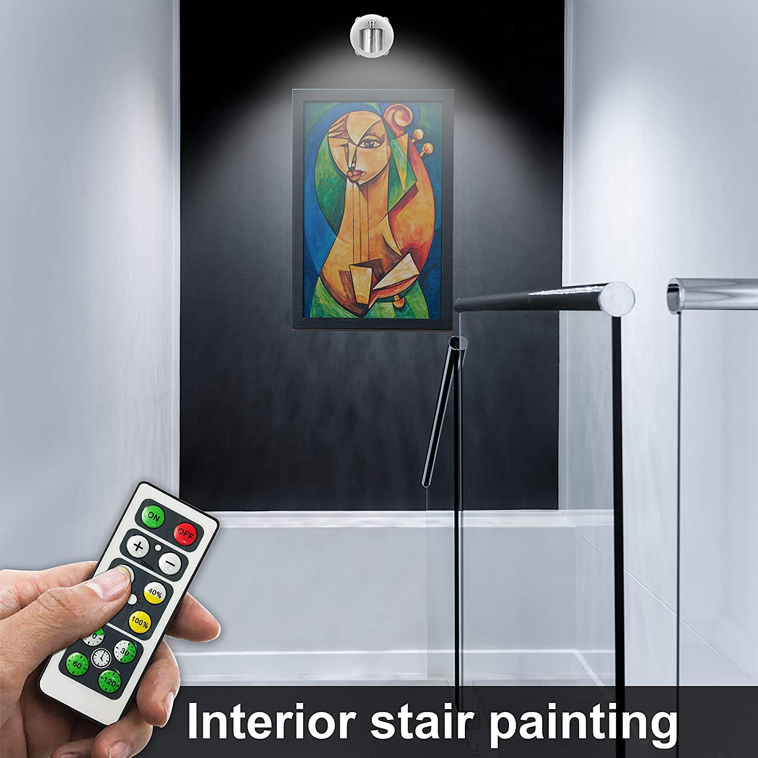 Battery Operated Accent Lights Art Lights for Paintings Mini Led Picture Light Puck Lights Wall Light 4000k Warm Light Wireless Spotlight Sliver 80 Lumens
