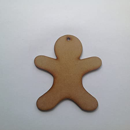 Wooden Craft Shapes 10 X Ginger Bread Men With Holes Amazoncouk