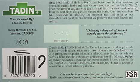 Amazon.com : Tadin Tea Yerbabuena Spearmint, Digestive Issues, Belly Inflammation & Cramps. 24 Bags. Pack of 5 : Grocery & Gourmet Food
