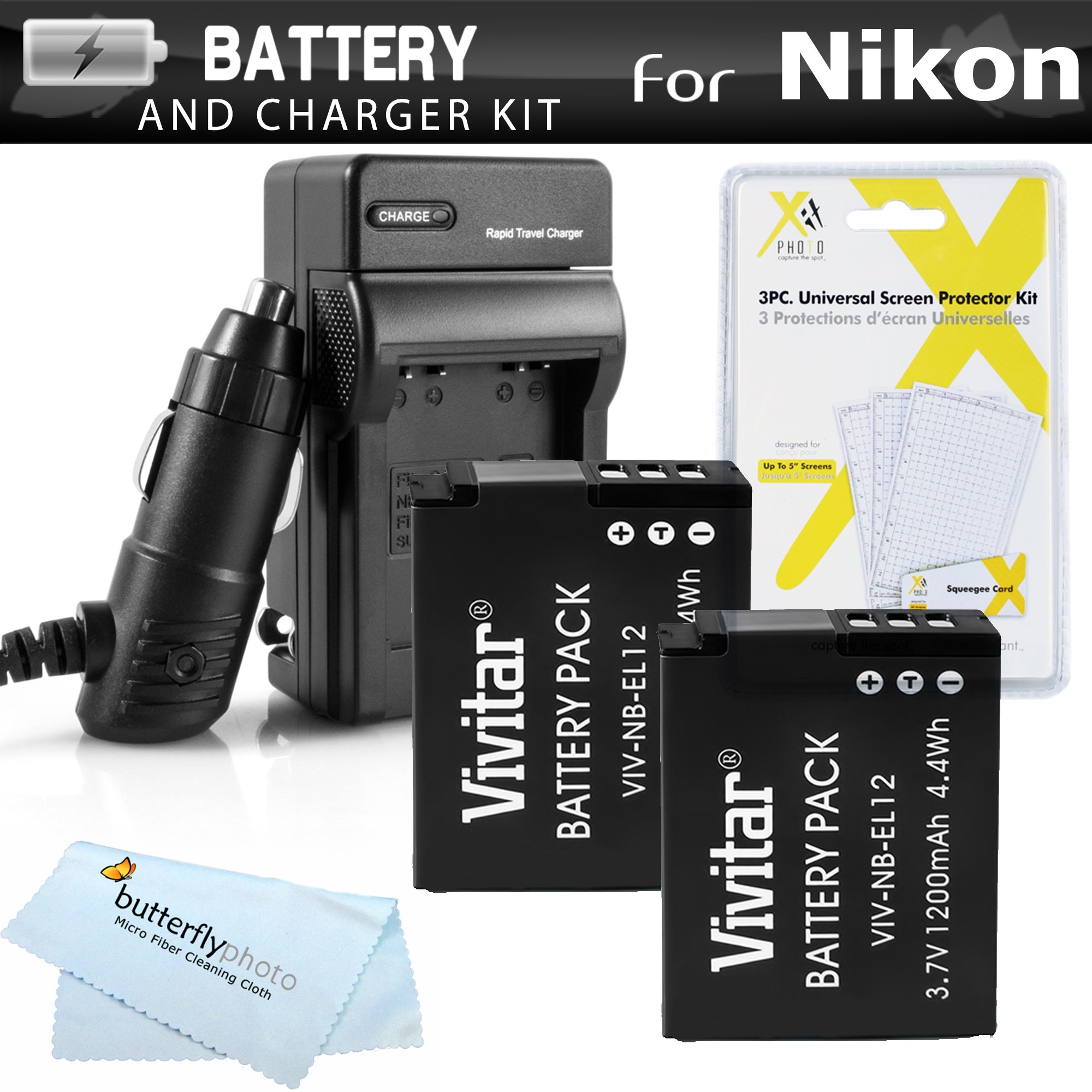 2 Pack Battery And Charger Kit For Nikon COOLPIX S9900, A900, W300, S9300 S6300, S9200, AW120, AW130, S9700, KeyMission 360, KeyMission 170 Camera Includes 2 Replacement EN-EL12 Batteries + Charger +