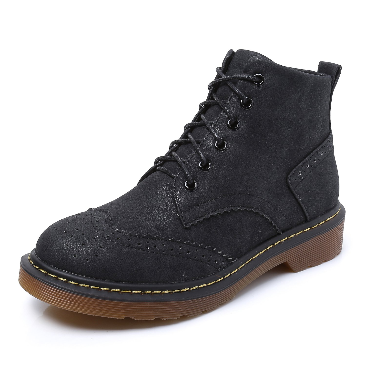 Smilun Girl¡¯s Ankle Combat Boots Mid Heel Nubuck Leather Derby Classic Borgues Boot for Girl Black US6.5