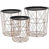 [en.casa]® Tavolini decorativi in un set di 3 ideale come tavolino d´appoggio di metallo color rame