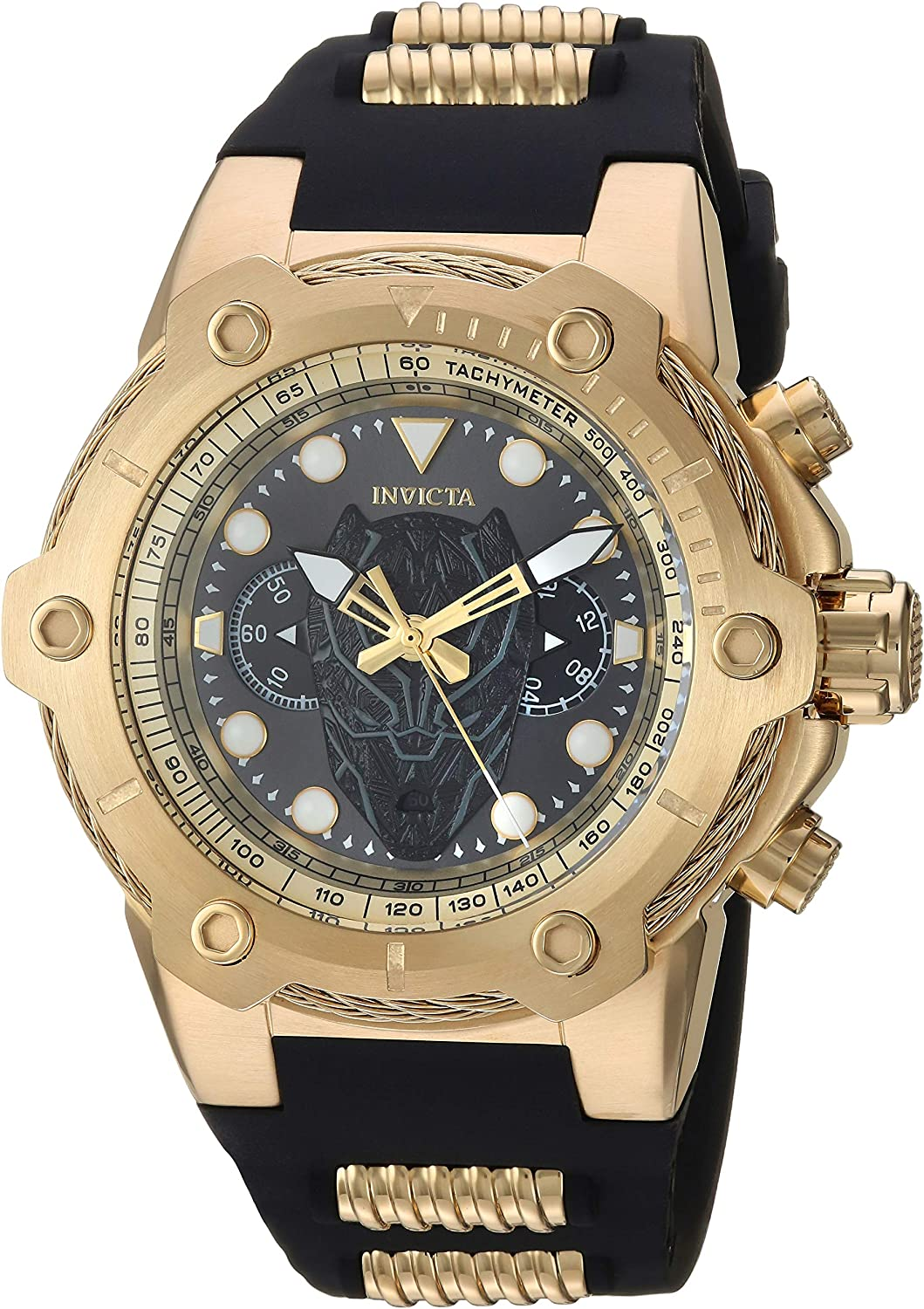 Invicta Men s Marvel Stainless Steel Quartz Watch with Silicone Strap, Black, 30 Model 26921