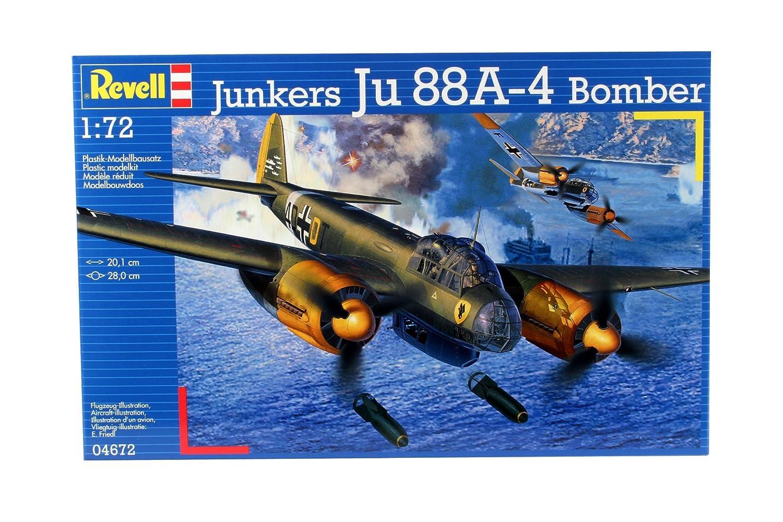 Revell Modellbausatz Flugzeug 1:72 - Junkers Ju88A-4 Bomber im Maßstab 1:72, Level 4, originalgetreue Nachbildung mit vielen Details, 04672 80-4672