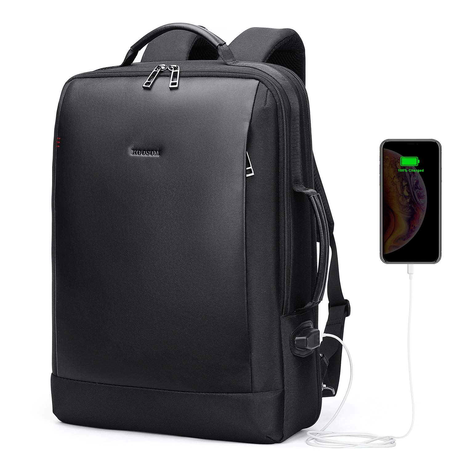 Leather Laptop Backpack for Men Carry On Bag for Travel Work Business School College with USB Charging Port Luggage Strap fit 15.6 inch Computer