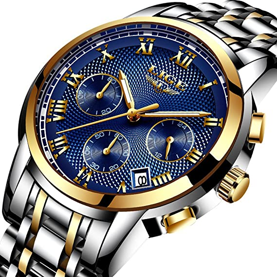 Relojes para Hombres,Impermeable Acero Inoxidable Reloj analógico de Cuarzo para Hombre Marca de Lujo LIGE Vestido de Negocios Reloj de Pulsera Hombre Reloj ...