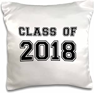 3dRose InspirationzStore Typography - Class of 2018 - Graduation gift - graduate graduating high school university or college grad black - 16x16 inch Pillow Case (pc_162669_1)