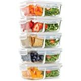 Fit & Fresh Divided Glass Containers, Two Compartments, Containers with Locking Lids, Glass Storage, Meal Prep…