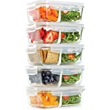 Fit & Fresh Divided Glass Containers, 5-Pack, Two Compartments, Set of 5 Containers with Locking Lids, Glass Storage, Meal Pr