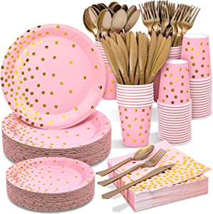 Pink and Gold Party Supplies 350PCS Disposable Dinnerware Set - Pink Paper Plates Napkins Cups, Gold Plastic Forks Knives Spoons for Birthday Bridal Baby Shower Valentine's Day Bachelor Wedding Party
