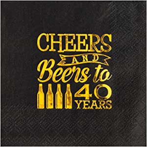 Crisky 40th Birthday Cocktail Napkins Black and Gold, Beverages Napkins for 40th Birthday Anniversary Decorations Cheers and Beers to 40 Years, 50 PCS, 3-Ply