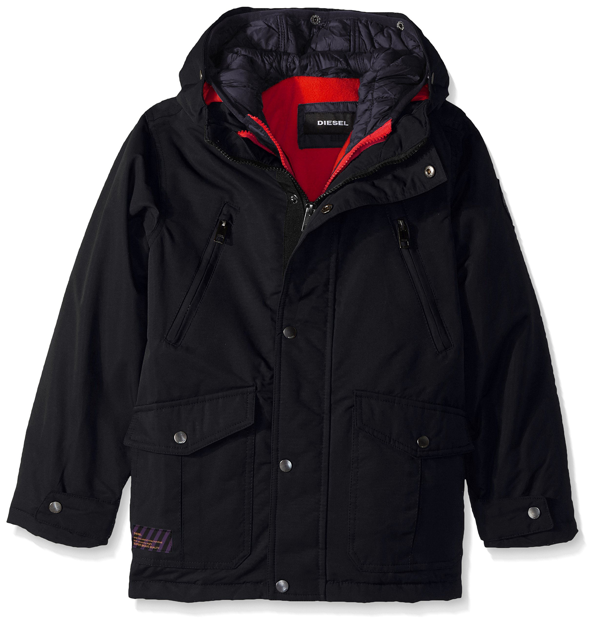 Diesel Boys' Little Outerwear Jacket (More Styles Available), Systems-DS10-Black/Charcoal, 5/6
