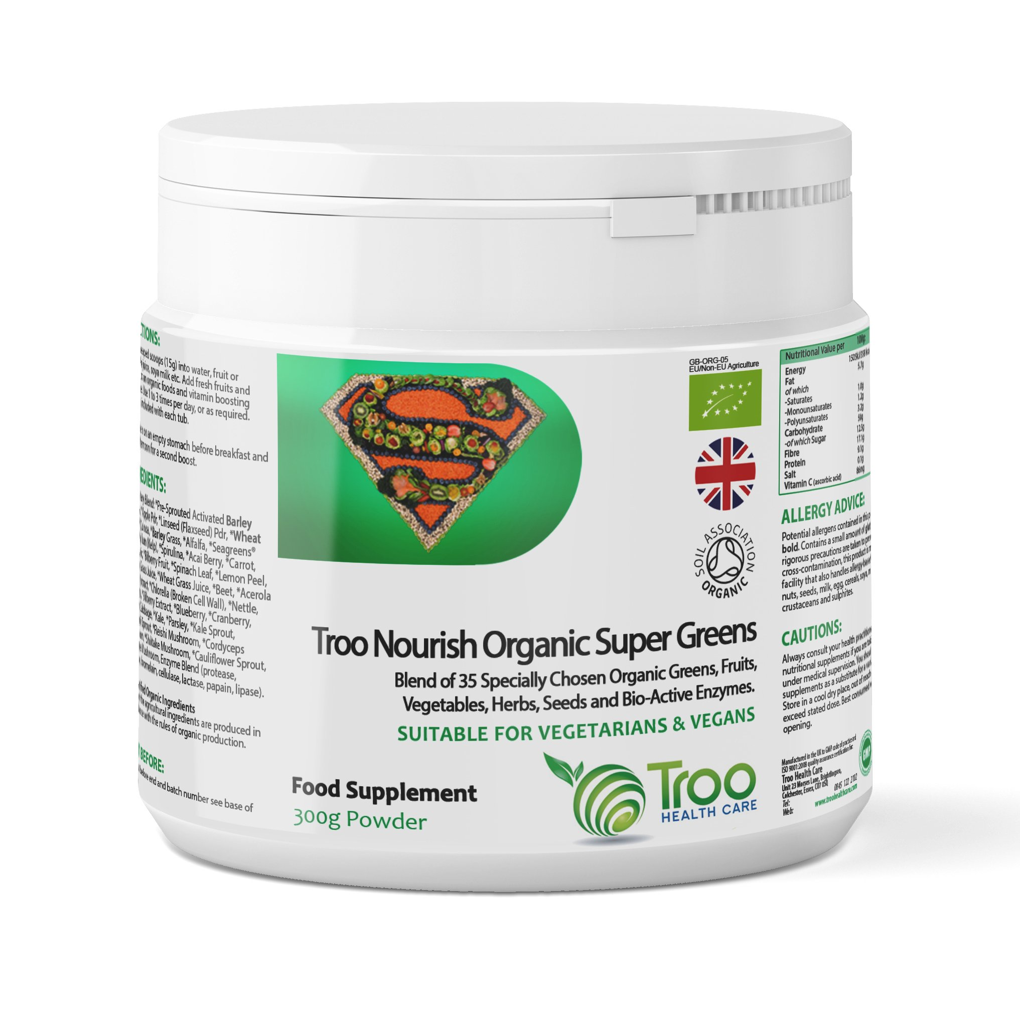 Organic Troo Nourish Supers 300g Powder - Superfood Nutritional Supplement | Wheatgrass | Barley Grass | Quinoa | Spirulina | Seagreens Ascophyllum Kelp | UK Manufactured to GMP Standards product image