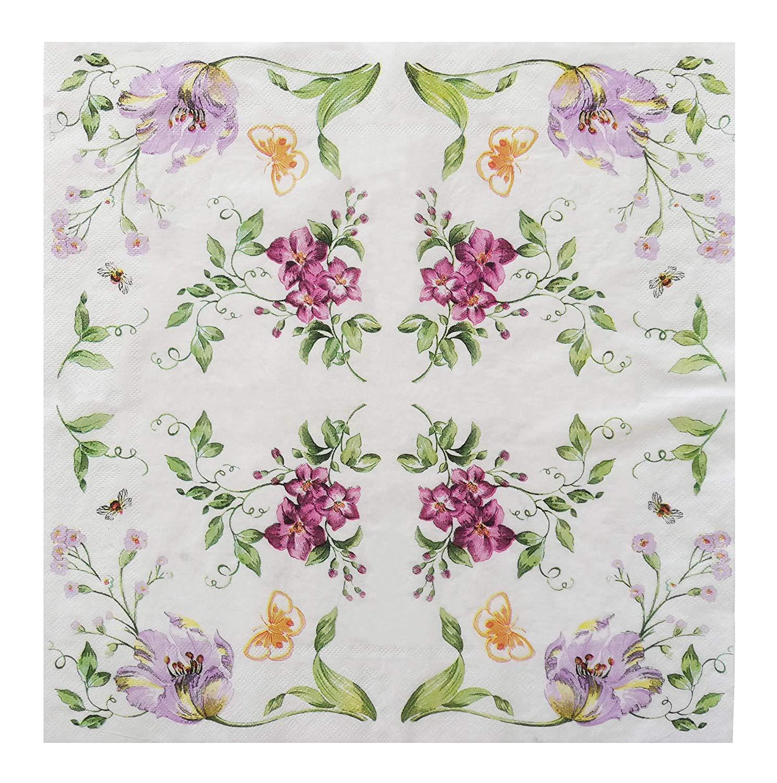 Salome Idea Romatic花柄パーティーnapkins-60カウント2重13.2 X 13.2インチRomatic花柄ナプキン YB-Napkins-Romatic Floral-30  Romatic Floral-30 B07BFVTDK8