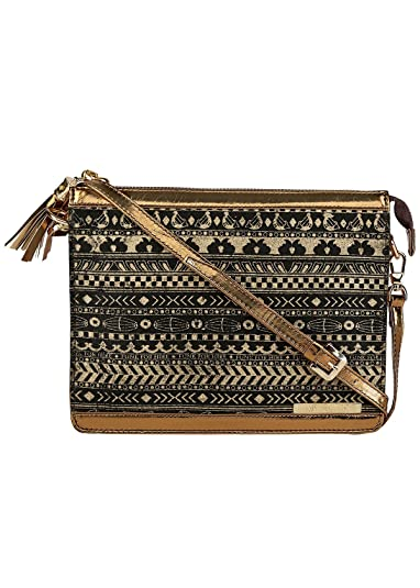 fc729d765d46 Funk For Hire Music Border Printed Women s Cotton Canvas Clutch Sling Bag -  Black   Gold  Amazon.in  Shoes   Handbags