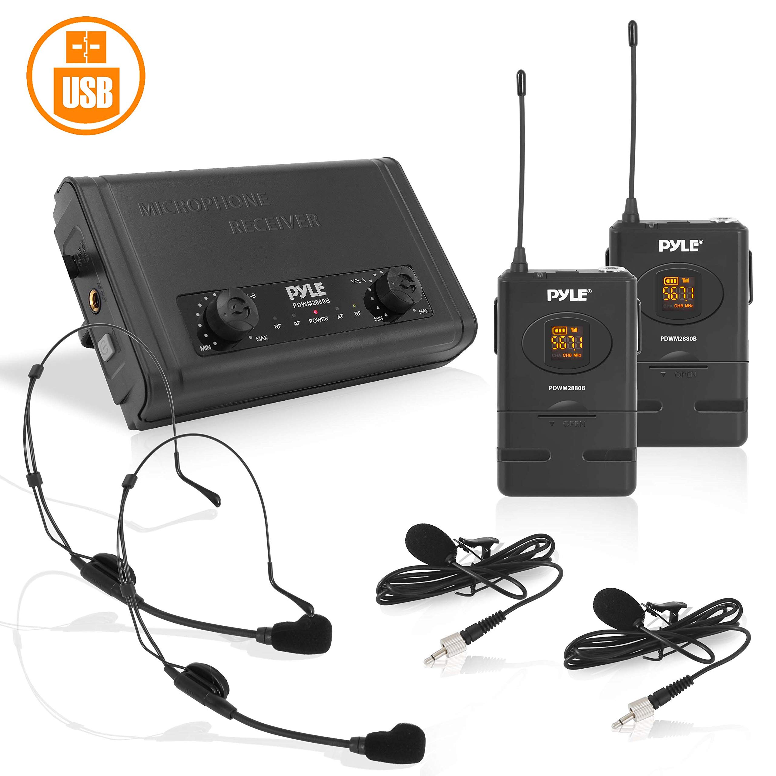 Compact UHF Wireless Microphone System - Pro Portable Dual Channel Desktop Digital Mic Receiver Set w/ 2 Belt-Pack Transmitter, Receiver, 2 Headset Lavalier Mics, Battery, For Home PA - Pyle PDWM2880B by Pyle