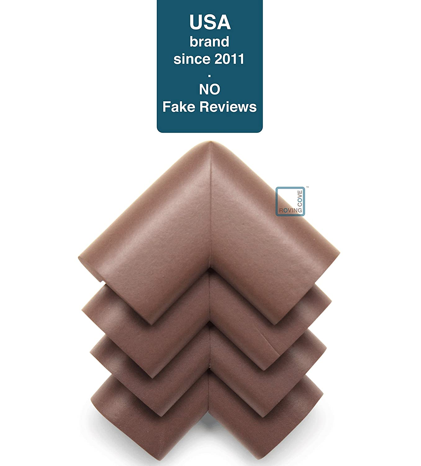 PRE-TAPED CORNERS; Child Safety Home Safety Furniture Bumpers and Table Edge Corner Protectors VALUE PACK COFFEE; Premium Childproofing Corner Guard Roving Cove 4-Piece Safe Corner Cushion