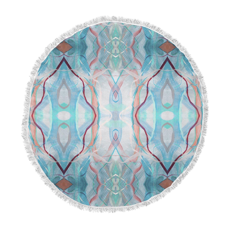 Kess InHouse Nikposium Totem-Azur Blue Maroon Digital Round Beach Towel Blanket