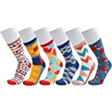 6 Pack Mens Hit Color Geometry Cotton Print Luxury Antibacterial Casual Dress Socks (Color-1)
