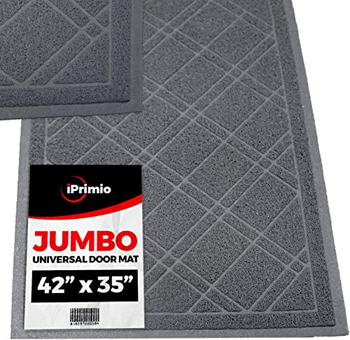 SlipToGrip Universal Gray Door Mat with DuraLoop – Jumbo 42 x35 Outdoor Indoor Entrance Doormat – Waterproof – Low Profile Door Mat – Welcome – Front Door, Garage, Patio