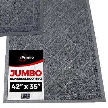 SlipToGrip Jumbo Door Mat Indoor / Outdoor 42 x35  Gray Duraloop