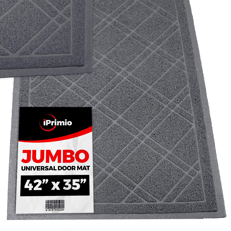 SlipToGrip Universal Gray Door Mat with DuraLoop - Jumbo 42''x35'' Outdoor Indoor Entrance Doormat - Waterproof - Low Profile Door Mat - Welcome - Front Door, Garage, Patio
