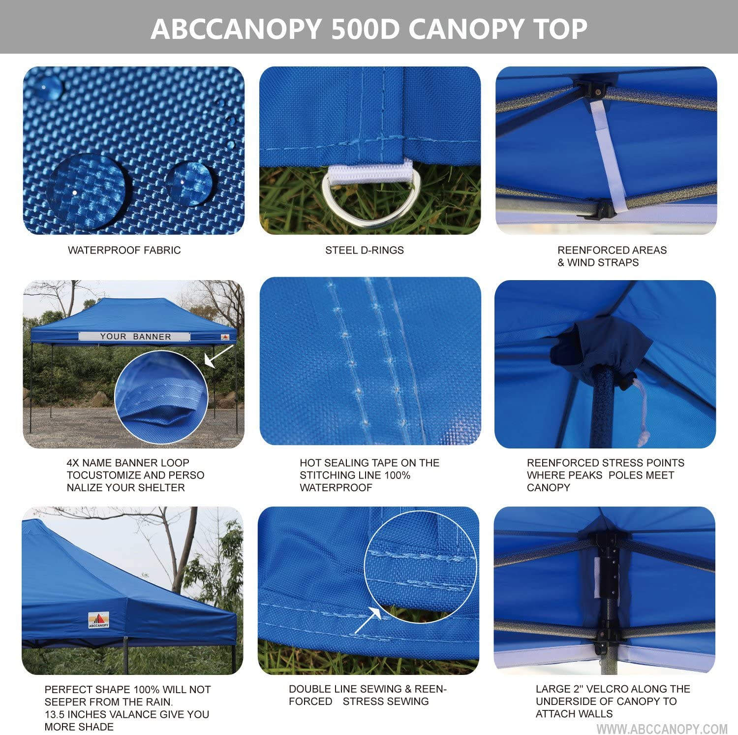 Colors Deluxe 10x15 Pop up Canopy Outdoor Party Tent Commercial Gazebo with Enclosure Walls and Wheeled Carry Bag Bonus 4 Weight Bags and 2 Half Walls ABCCANOPY 23 Royal Blue