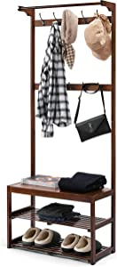 TOETOL Bamboo Coat Rack Stand Hall Tree with Shoe Storage Bench, Entryway Shelf with Hanging Bar, 3 In 1 Design, 10 Hooks, Easy Assembly