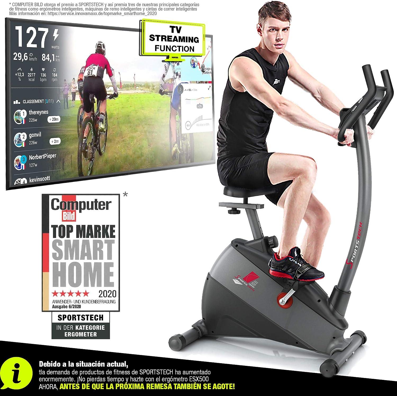 Sportstech ESX500 Bicicleta estática - Marca de Calidad Alemana - Vídeos en Directo y App multijugador + Pantalla de 5,5
