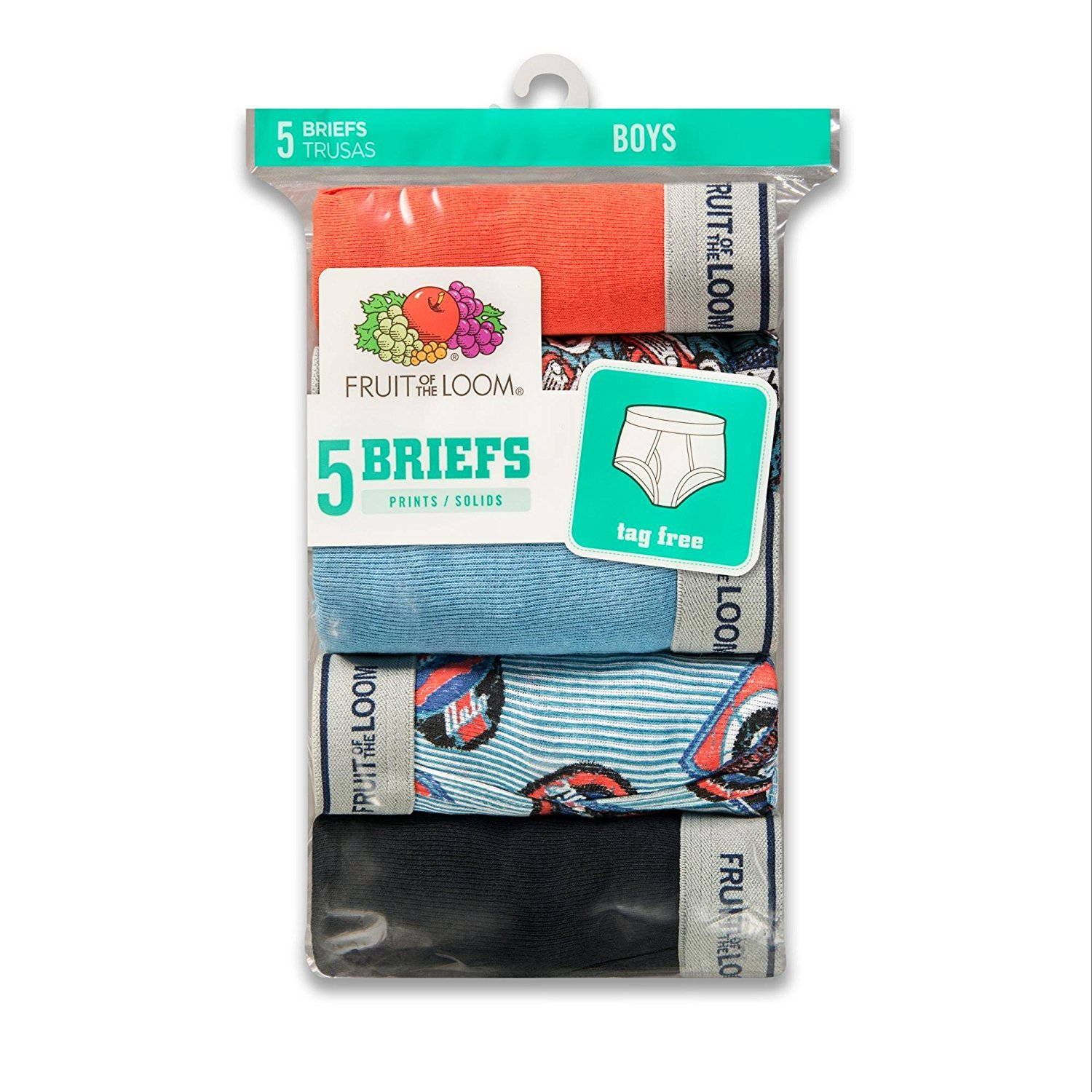 Fruit of the Loom Boys' Fashion Brief (Pack Of 5) (ASTD Print: Reinforced Leg Bands, Large/14-16)