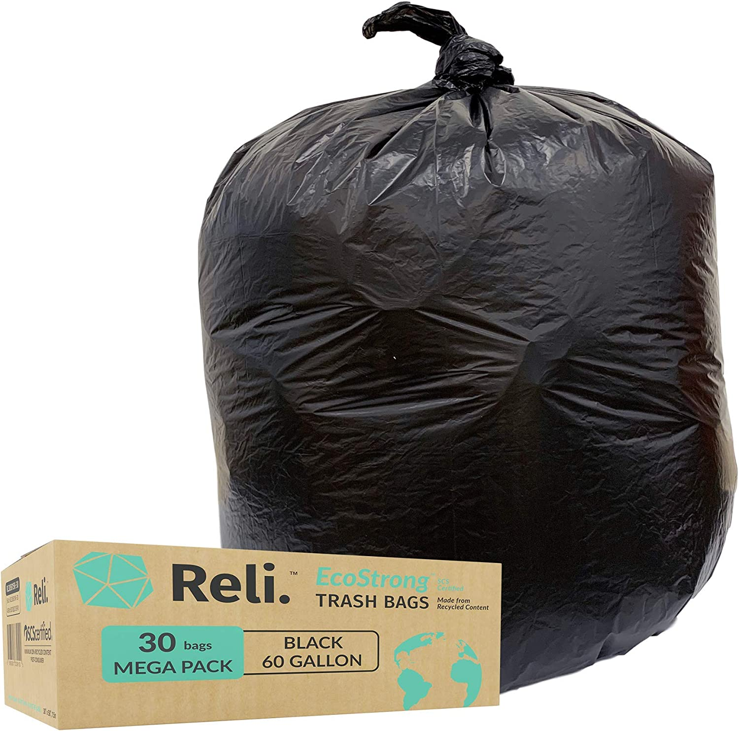Reli. EcoStrong 55 Gallon Trash Bags (30 Count) Eco-Friendly Recyclable - Black Garbage Bags 55 Gallon - 60 Gallon Capacity - Made of Recycled Material - 50 Gal, 55 Gal, 60 Gal Compatible
