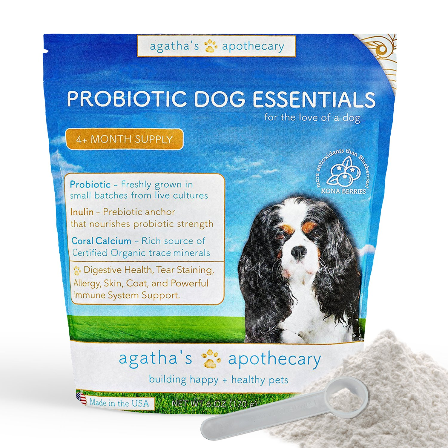 Agatha's Pet Wellness Probiotic Powder Dog Essentials – 9 Probiotic Strains – Improved Digestion – Total Organ Protection – Skin & Fur Health – 45 Billion CFU Per Serving – 5-Month Supply
