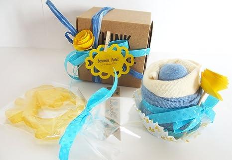 Baby Shower Idea Regalo | Cupcake (Babero TOMMEE TIPPEE + Calcetines en Algodón) y