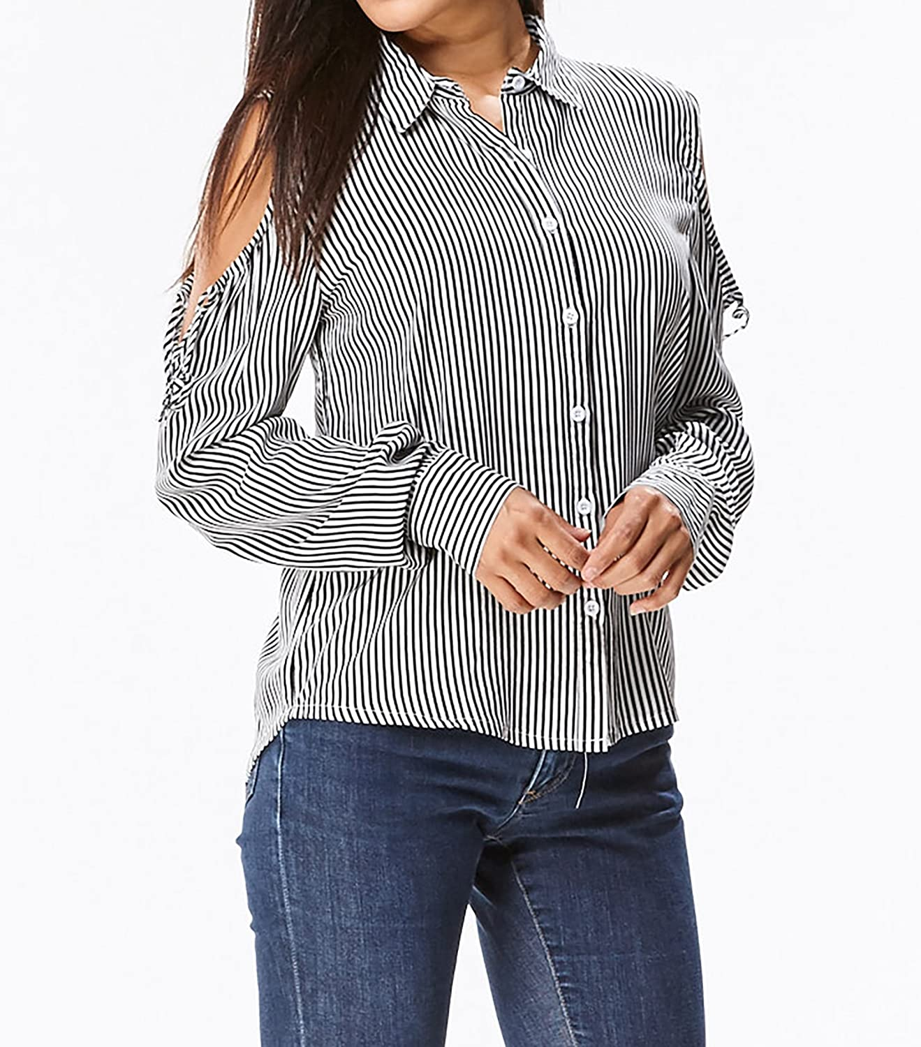 4676704630e5d in2you Cold Shoulder Button Down Stripe Shirt (Large