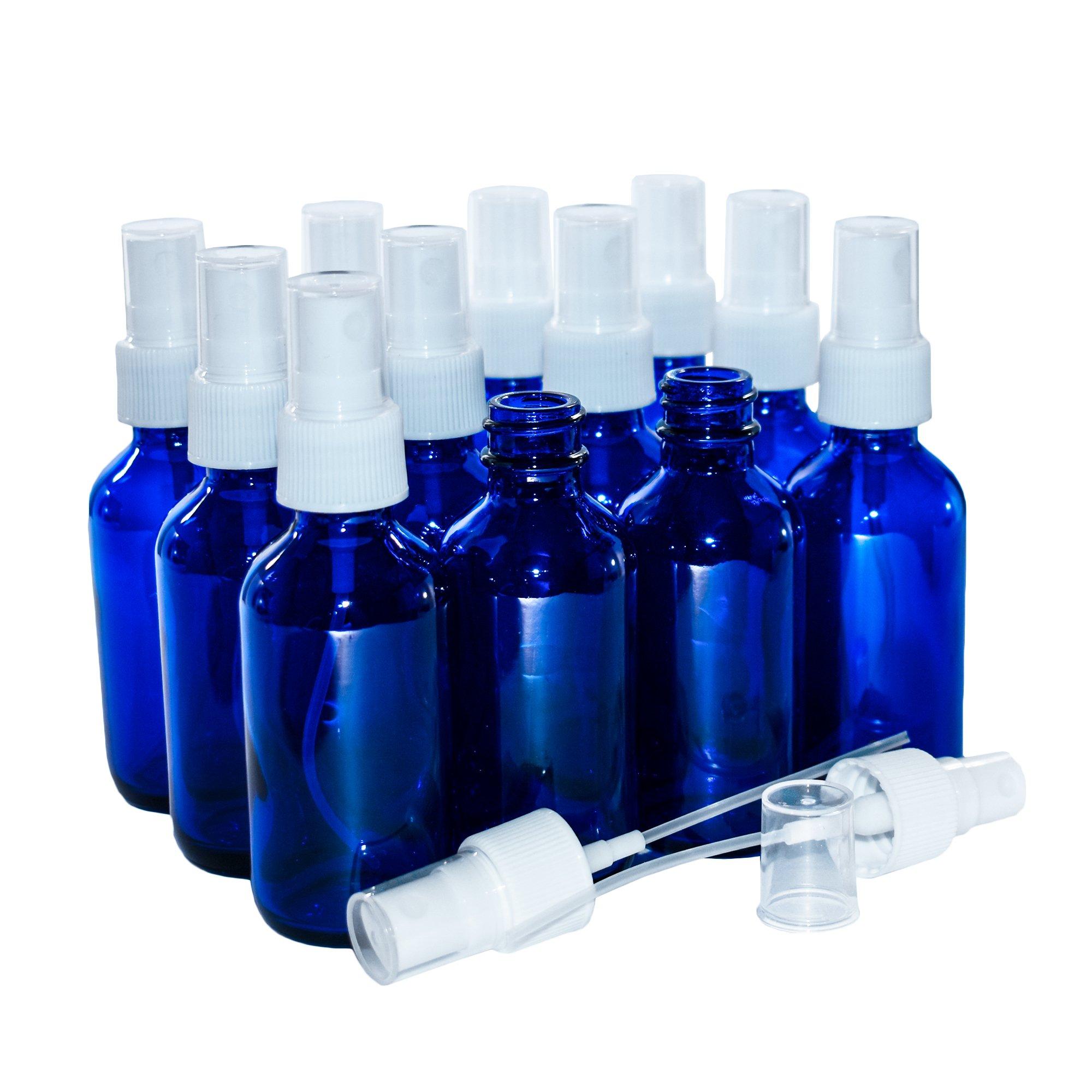 (12 Pack) 2 oz. Cobalt Blue Boston Round with White Fine-Mist Sprayer (.1 ml) (20/400)