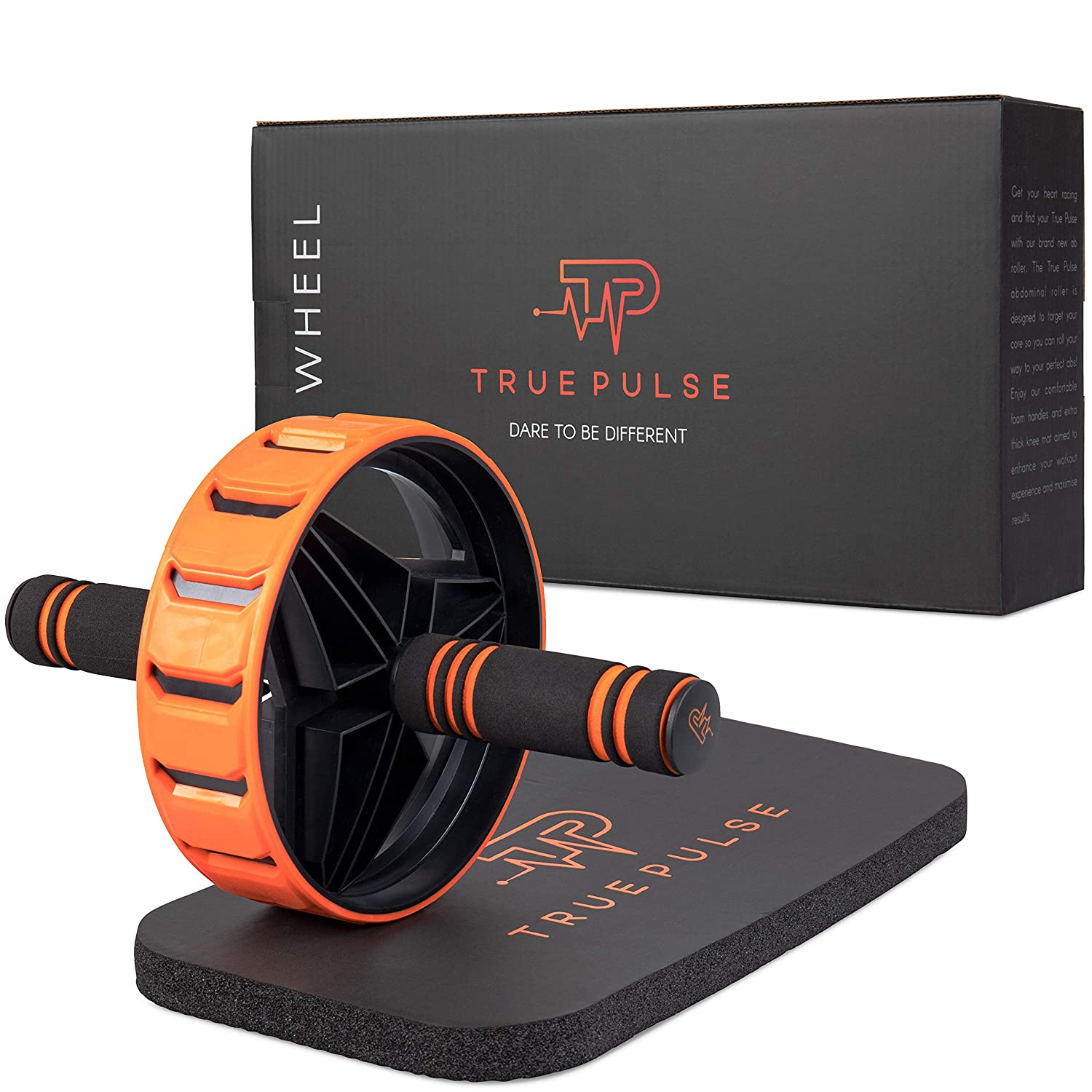 True Pulse Premium Ab Wheel – Fitness Equipment for Building CORE and arms – Wide Sturdy Non-Slip Rubber Wheel, Extra Thick Knee pad, and Comfortable Foam Handles