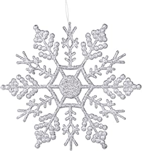 DegGod 12 Pcs Glitter Snowflake 4 inches, Plastic Christmas Hanging Glitter Snowflakes String Garland for Decorating, Crafting,Wedding,Party and Christmas Tree Decorations Ornaments (Silver A)