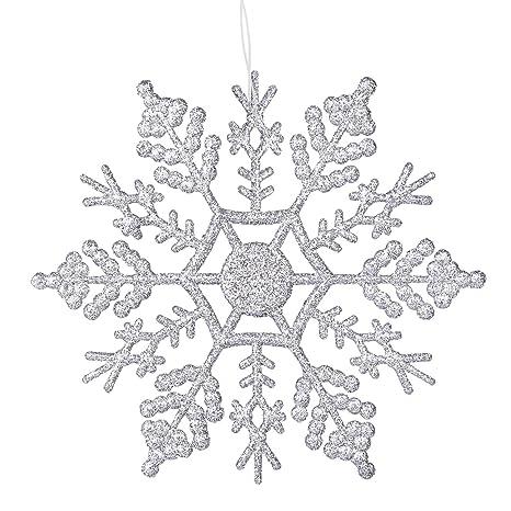 Decorazioni Natalizie Fiocchi Di Neve.Deggodech 12pcs Glitter Fiocco Di Neve Natale 10cm Plastica Fiocchi