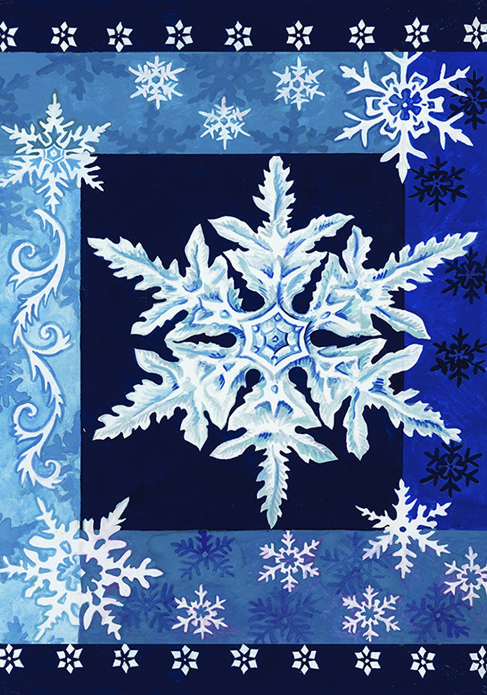 Toland Home Garden Cool Snowflakes 28 x 40 Inch Decorative Blue Winter Snowflake House Flag - 102532