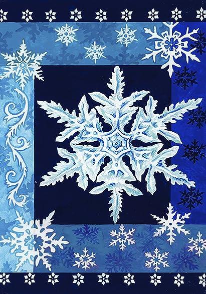 Toland Home Garden Cool Snowflakes 12.5 X 18 Inch Decorative Blue Winter  Snowflake Garden Flag
