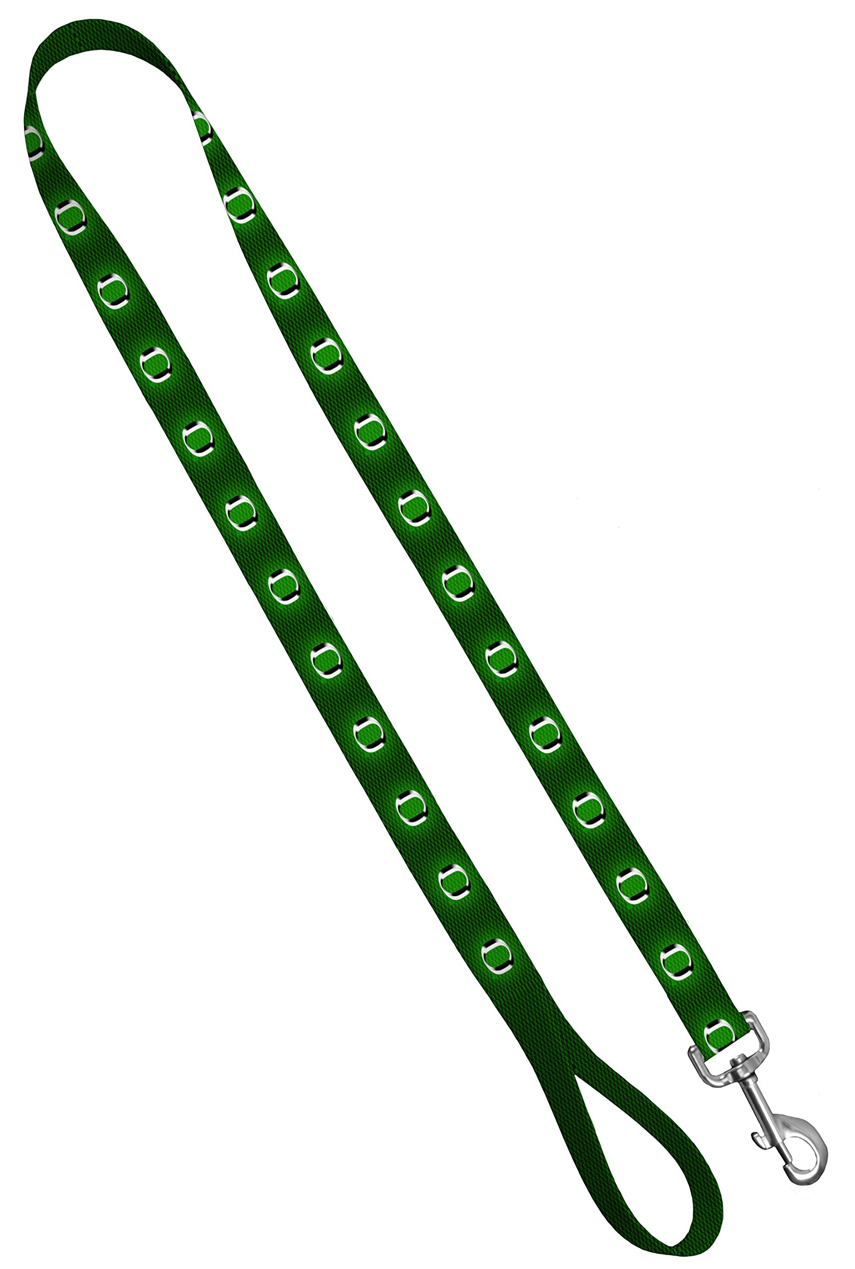 Moose Pet Wear Dog Leash - University of Oregon Ducks Pet Leash, Made in The USA - 3/4 Inch Wide x 4 Feet Long, Green Carbon Fiber Chrome O