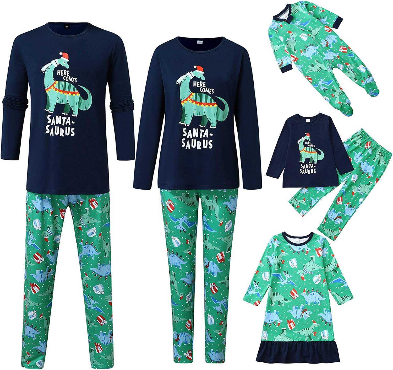 Christmas Pajamas for Family Matching Xmas Family Clothes Dinosaur Printed Tee and Pants Loungewear