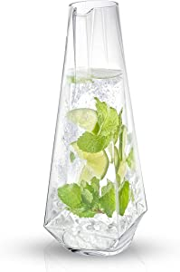 JoyJolt Infiniti Water Pitcher – 43Oz Deluxe Glass Pitcher – Premium Quality Crystal Lemonade Pitcher – Elegant Classic Design – Perfect Sangria Pitcher, Serving Iced Tea, Fruit Infusion, Juice