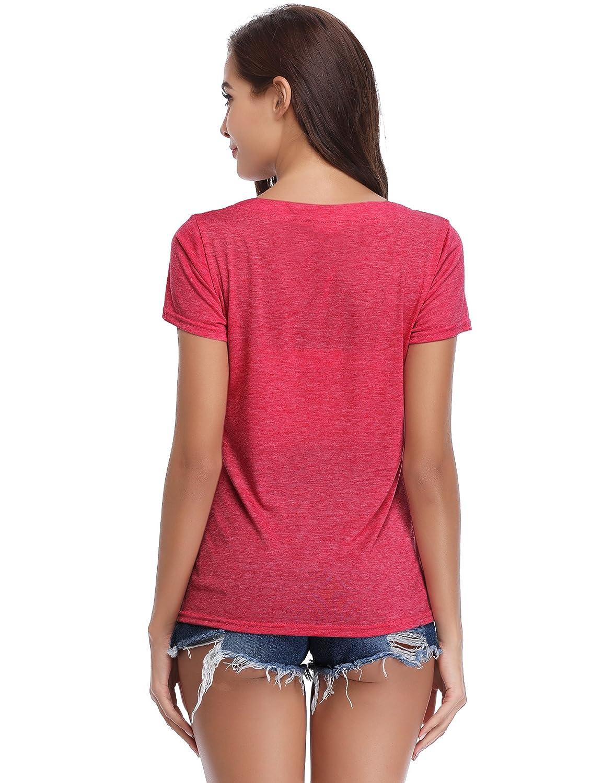 Abollria Womens V Neck Button T-Shirt Short Sleeve Pleated Casual Tee Shirt Tops