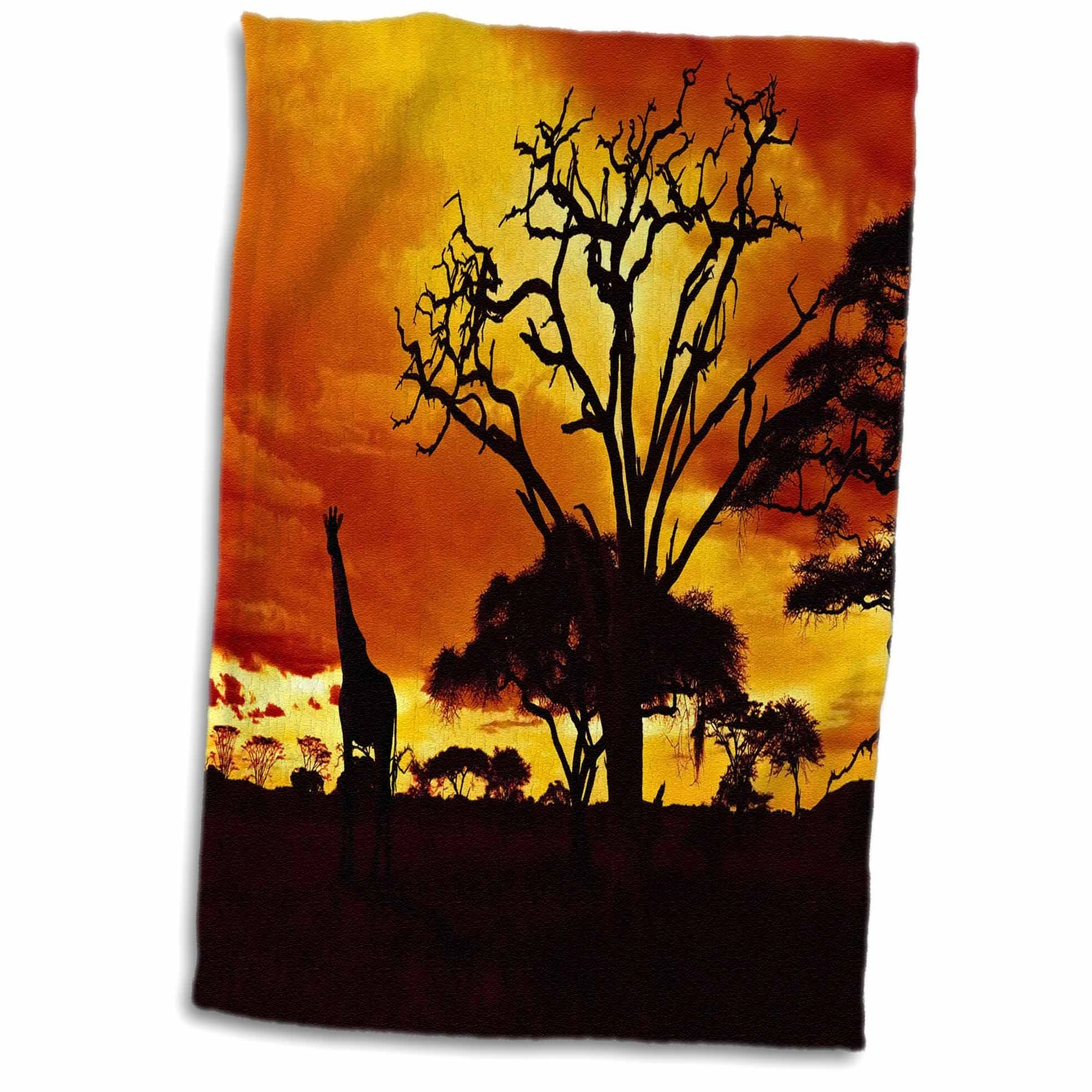 3D Rose Giraffe on African Plains at Sunset Animal Safari Africa TWL_173293_1 Towel, 15'' x 22''