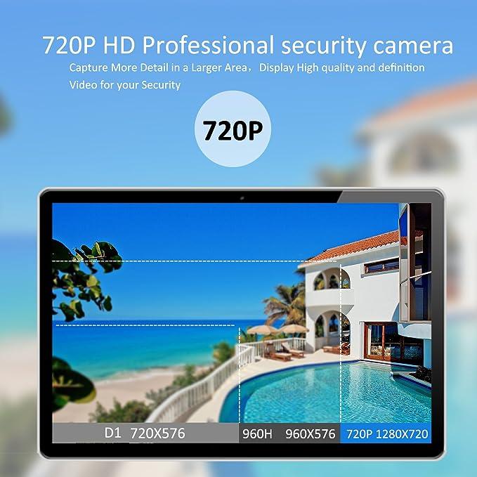 Swinway Sistema de CCTV inalámbrico para el hogar Cámara de seguridad al aire libre con monitor de 7 pulgadas NVR 4 cámaras IP inalámbricas 720P Impermeable ...
