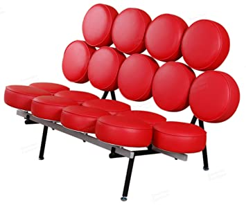 George Nelson Marshmallow Sofa In Red Italian Leather